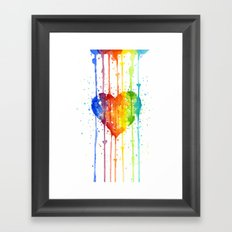 Heart Rainbow Watercolor Love Wins Colorful Splatters Framed Art Print