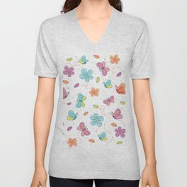Colorful Butterflies And Flowers Pattern Unisex V-Neck