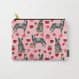 Australian Cattle Dog blue heeler valentines day cupcakes hearts love dog breed Carry-All Pouch