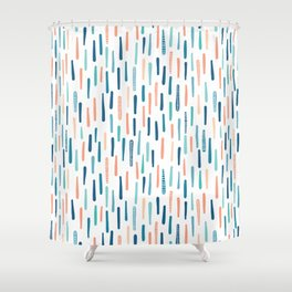 Hand drawn vertical textured maritime stripes. Shower Curtain