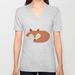 Sleepy Red Fox Unisex V-Neck