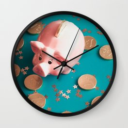 The Golden Pig New Year.traditional Chinese Symbol Piggy Bank Wall Clock