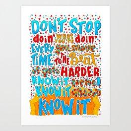 Don't Stop Lyricart Art Print