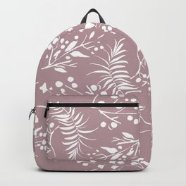 Modern mauve pink white hand painted floral Backpack