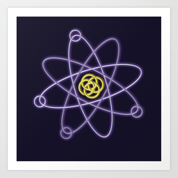 gold and silver atomic structure art print