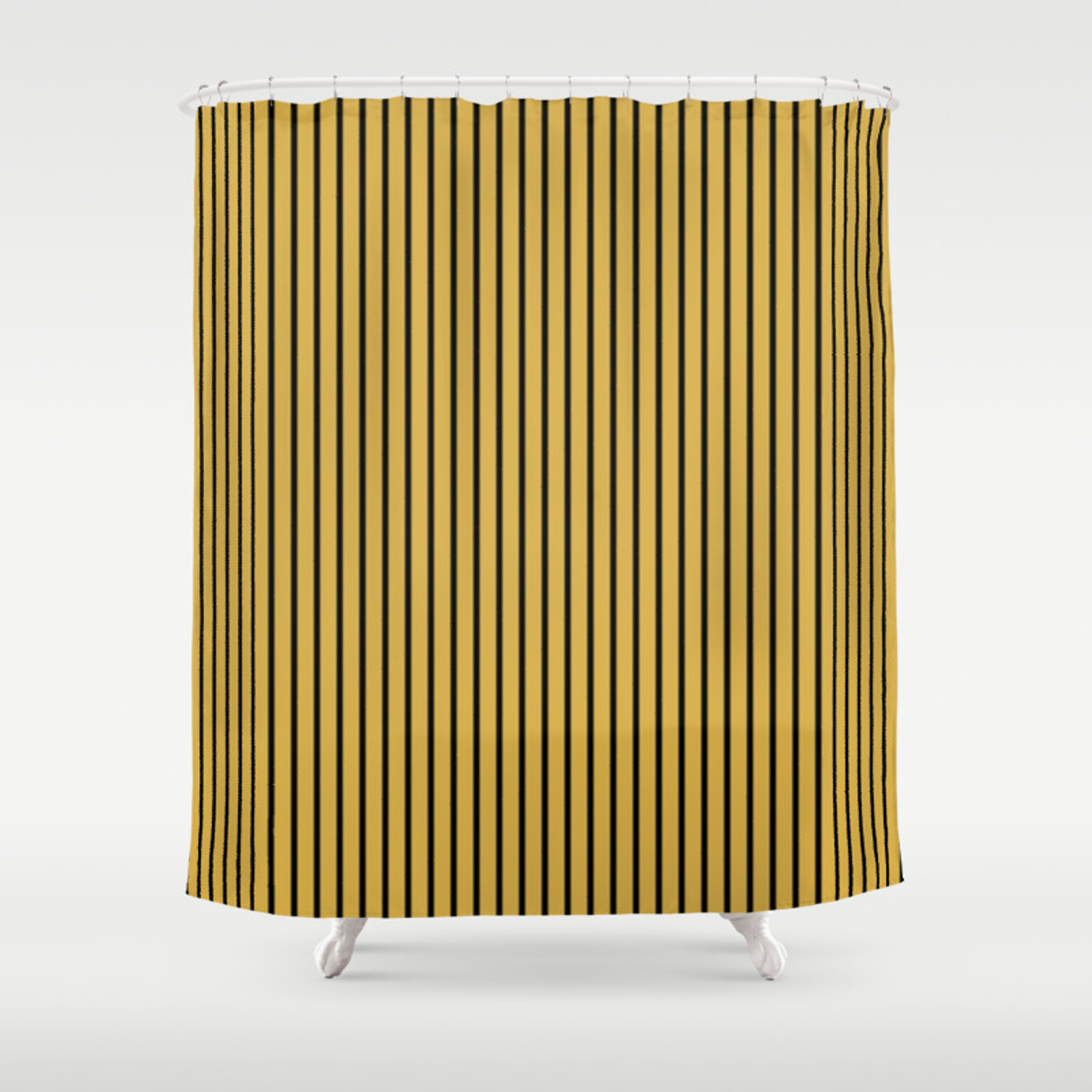 Spicy Mustard And Black Stripes Shower Curtain