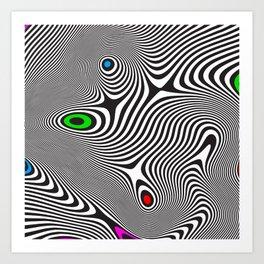 Black wavy lines color accents Art Print