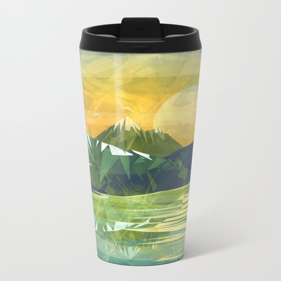 Mountains and Sunset over the lake Metal Travel Mug