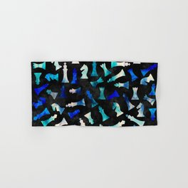 Chess Figures Pattern -Watercolor Blue and Teals Hand & Bath Towel
