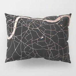 London Black on Rosegold Street Map Pillow Sham