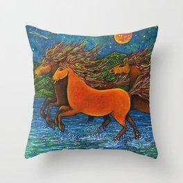 Wild Horses in the Moonlight Throw Pillow