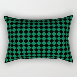 Black and Cadmium Green Diamonds Rectangular Pillow