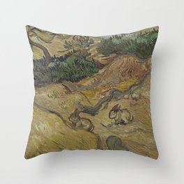 Landscape with Rabbits Throw Pillow
