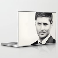 dean winchester Laptop & iPad Skins featuring Dean Winchester B&W by Kaye Pyle