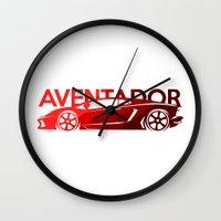 lamborghini Wall Clocks featuring Lamborghini Aventador - classic red - by Vehicle