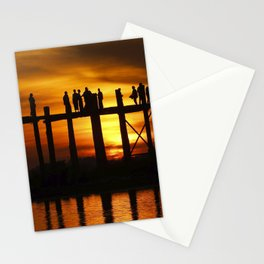 Sunset at U Bein Bridge, Myanmar Stationery Cards
