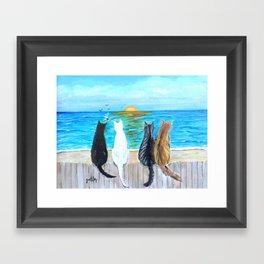 Cat Beach Sunset Framed Art Print