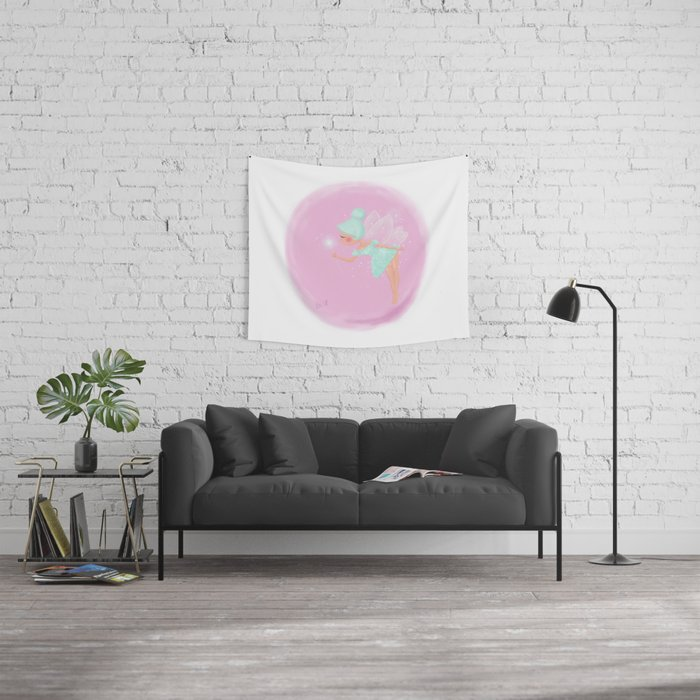 Mint Fairy Wall Tapestry