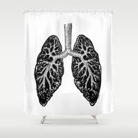 lungs Shower Curtains featuring Corrupted Lungs by Other People's Characters