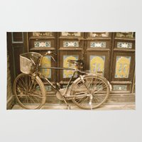 bicycle Area & Throw Rugs featuring Bicycle by Gurevich Fine Art