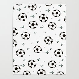 Fun grass and soccer ball sports illustration pattern Poster