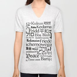 IMAGINE PEACE...  Say peace in 47 languages... Unisex V-Neck