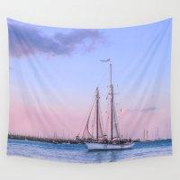 sailing Wall Tapestries featuring  Sailing Yacht by Svetlana Korneliuk
