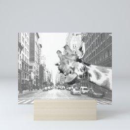 Black and White Selfie Giraffe in NYC Mini Art Print