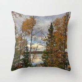 Warm Silver Lake, Fall Throw Pillow