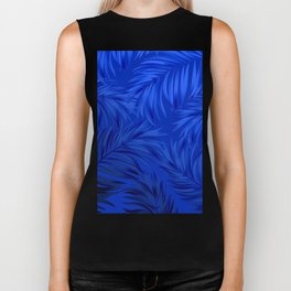 Palm Tree Fronds Brilliant Blue on Blue Hawaii Tropical Décor Biker Tank