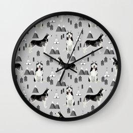 Husky siberian huskies mountains pet portrait dog dogs pet friendly dog breeds gifts Wall Clock