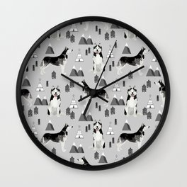 Husky siberian huskies mountains pet portrait dog dogs pet friendly dog breeds gifts Wall Clock