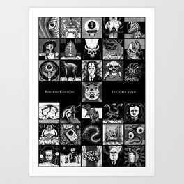 Inktober 2016 Cards Art Print