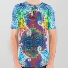 BBQSHOES™: Julia November All-Over Print Psychedelic Fractal T-Shirt All Over Graphic Tee