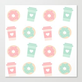 cute colorful donuts and coffee pattern background illustration Canvas Print