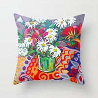 daisies Throw Pillows featuring Daisies by marlene holdsworth