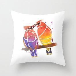 Cedar Waxwings Share a Berry Throw Pillow