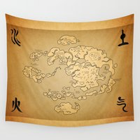 avatar Wall Tapestries featuring Avatar Last Airbender Map by KewlZidane
