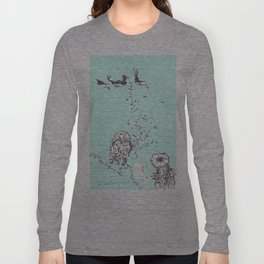 Two Tailed Duck and Jellyfish Mint Green Long Sleeve T-shirt