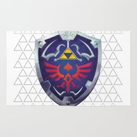 hyrule Area & Throw Rugs featuring Link - Hyrule Shield - zelda by EramDesign