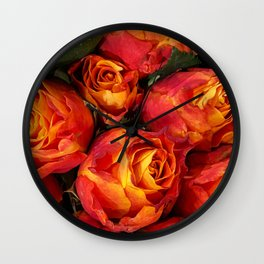 Vibrant Burnt Orange and Yellow Bose Bouquet  Wall Clock