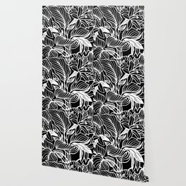 Black White Floral Minimalist Wallpaper