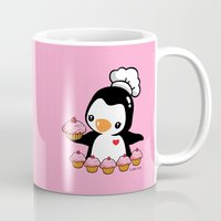 cooking Mugs featuring Cooking Penguin by joanfriends