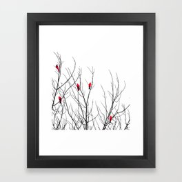 Artistic Bright Red Birds on Tree Branches Framed Art Print