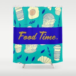 Blue Food Time Pattern Shower Curtain