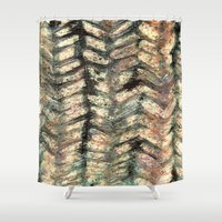 herringbone Shower Curtains featuring Herringbone by Janice MacDougall