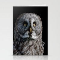 grey Stationery Cards featuring GREY OWL by Catspaws