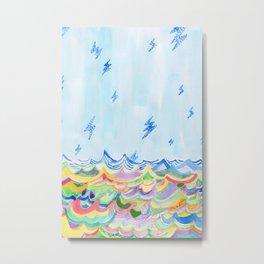 Lightning at Sea Metal Print