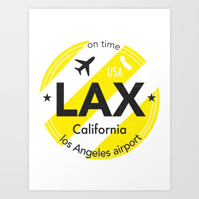 Lax los angeles round sticker yellow art print