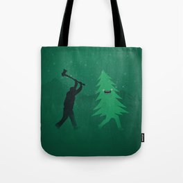 Funny Cartoon Christmas tree is chased by Lumberjack / Run Forrest, Run! Tote Bag